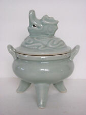 Fine Chinese Celadon Porcelain Tripod Incense Burner with Dragon Lid