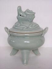Fine Chinese Celadon Porcelain Tripod Incense Burner with Dragon Lid