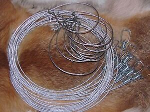 """3 - 60"""" 3/32  Micro Lock Raccoon,fox,coyote,bobcat  Snares  Trapping NEW SALE"""