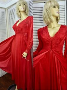NWT Shadowline 2pc Robe and Silhouette Nightgown SMALL Red w Lace Nylon