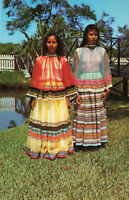 Postcard Seminole Indian Girls Everglandes Fort Lauderdale Florida