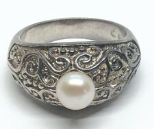 Vintage Sterling Silver Ring 925 Size 8 Pearl SU Band Scrolls