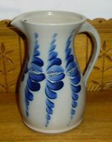 """1993 Eldreth Pottery Blue Decorated Stoneware Pitcher - Second - 10 3/8"""""""
