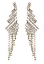 CLIP ON EARRINGS - gold chandelier earring with clear crystals - Candra G
