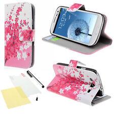 Samsung Galaxy S3 i9300 Handy Tasche Flip Case Cover Book Style im Blumen Muster