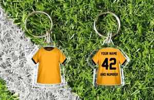 WOLVERHAMPTON personalised keyring. Add your own name and number. Retro & modern