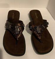 WHITE MTN. Brown Embellished Slide Thong Flip Flop Sandals 10M