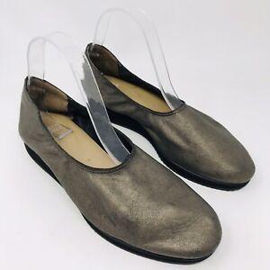 Eileen Fisher Women Pond Su Shoes Sz 9 Metallic Pewter Round Toe Comfort Flats