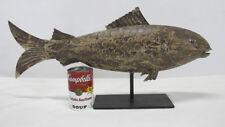 VTG Hand Painted Salmon Fish Decoy Trophy Tin Folk Art Weathervane Sculpture yqz