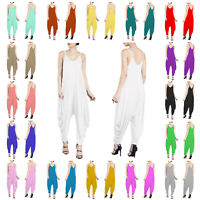 RSVH WVJ Womens Ladies V-neck Summer Beach Harem Jumpsuit Romper Lagenlook Dress