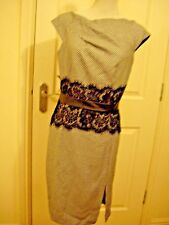 ANOTHER LABEL BLACK IVORY WHITE SPOTTED LACE TRIM FITTED BODYCON DRESS UK 12