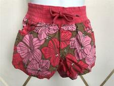 4T GIRLS OLD NAVY BRIGHT PINK TAN FLORAL FLOWER SUMMER SHORTS ELASTIC WAIST