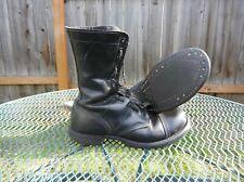 Vtg Corcoran Black Leather Cap Toe Combat Jump Police Boots ~ Men's 10 D ~