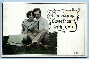 Postcard~ Romance~ I'm Happy Sweetheart With You~ A889