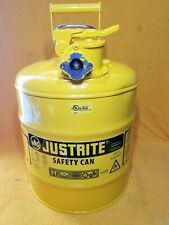NEW JUSTRITE 7250230 TYPE ll YELLOW 5 GALLON STEEL SAFETY CAN