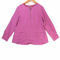 Soft Surroundings Women's Purple 1/4 Zip Long Sleeve Tunic Top - Size Medium