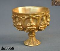Old Chinese Bronze 24k gold Gilt Shakyamuni Buddha Statue Wine vessel Goblet Cup