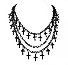 Restyle Black Crosses Halsketting Necklace Gothic Halloween NEW