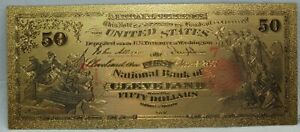 """$50 1863 National Currency Cleveland Novelty 24K Gold Plated Note Bill 6"""" LG328"""