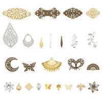 50pcs Mixed Iron Filigree Joiners Links Pendants Metal Charms Jewelry Connector