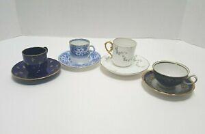 Lot of 4 Vintage Blue Tea Cups and Saucers Demitasse Limoges, Wedgewood, Sweden