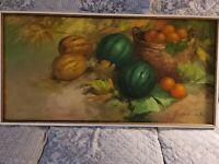 Cesar Buenaventura Original 1968 oil on Canvas still life Fruit original Framed