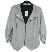 Torrid Black White Knit Mandarin Collar Zip Jacket Size 2