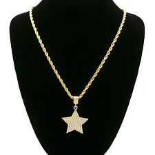 "14k Gold Plated Custom Iced Out Cz Star  Hip Hop Pendant 24"" Rope Chain"