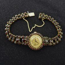 Vecchie signore-Orologio da polso Condor con granat pietre. l'orologio è in esecuzione. norma-ORO