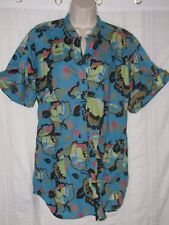 FRENCH CONNECTION sz 6 Blue Floral Blouse Roll Tab Cuff Sleeve Pockets Button