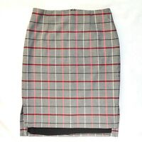 Halogen Grey PoW Tartan Check Lined Pencil Skirt Work Office Career US 6 UK 10