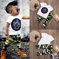 2PCS Toddler Kids Baby Boy Summer T-shirt Tops+Camouflage Pants Outfits Clothes