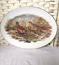"Wall Hanging Vintage Platter Serving Plate Game Pheasants Decorative 15"" Farm"
