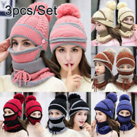 Women Knitted Beanie Scarf Cable Hat Face Mask 3pcs Snood Neck Winter Pompom Cap