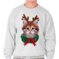 Cute Reindeer Cat Shirt Santa Claus Kitten Holiday Season Pullover Sweatshirt