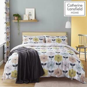 RETRO FLORAL GREY YELLOW PINK SINGLE,DOUBLE KING DUVET SET CATHERINE LANSFIELD