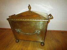 Antique Brass Coal Box, with original tin liner