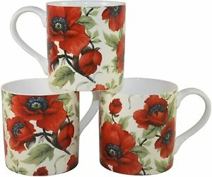 Rubyspoon Set of 3 Poppy Large Balmoral Fine Bone China Mugs 425ml Gift Set