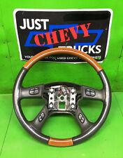 03 04 05 06 Cadillac Escalade Leather Woodgrain Steering Wheel Radio Control