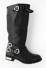 WOMANS BLACK WIDE FIT BOOTS WITH BUCKLES AND STRAP TRIM SIZE 7