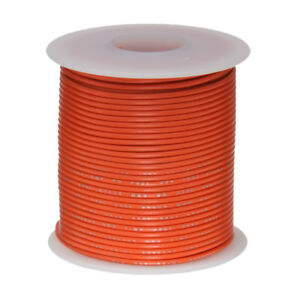 "18 AWG Gauge Stranded Hook Up Wire Orange 25 ft 0.0403"" PTFE 600 Volts"