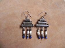 Lapis, Pearl & Sterling Silver Bali beads dangle Earrings