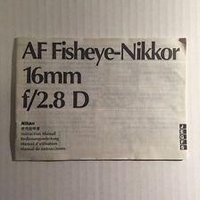 Nikon Nikkor AF Fisheye 16mm f/2.8D Lens - Genuine Instruction Manual