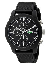 ★ LACOSTE Men's 2010821 12.12 Analog Display Japanese Quartz Black Watch ★