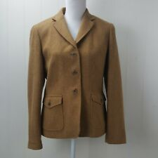 Lands End Blazer Jacket Womens Size 12 Petite 12P Brown Wool Mohair Blend Lined