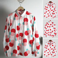 Men's Long Sleeve Floral Casual Party Shirts Hawaiian Button Down Shirt Tee Tops