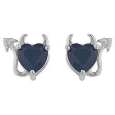 Genuine Black Onyx & Diamond Devil Heart Stud Earrings .925 Sterling Silver