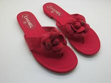 $775 Chanel Red Suede Camellia  CC Logo Thong Sandals Flip Flops Flats 38.5 New