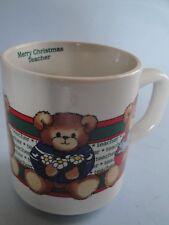 Vintage Lucy & Me Enesco Rigg Merry Christmas Teacher Coffee Mug Cup