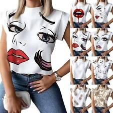Women Print T Shirt Ladies High Neck Short Sleeve Tee Shirt Casual Blouse Top